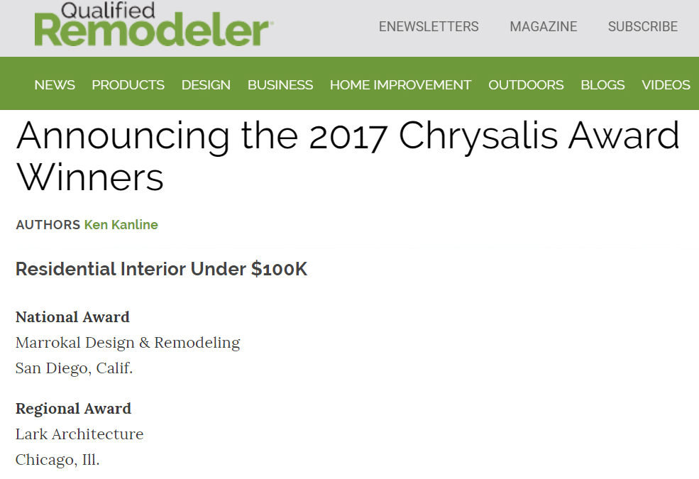 Announcing the 2017 Chrysalis Award Winners